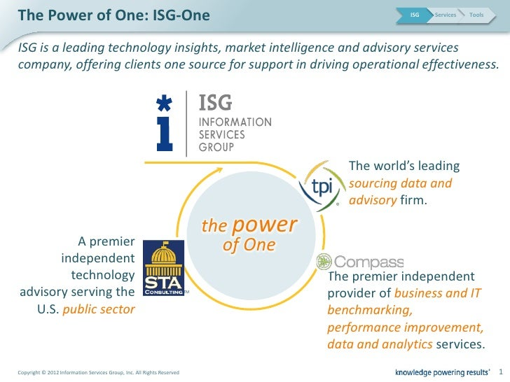 The Power of One: ISG-One                                                                              ISG   Services   To...