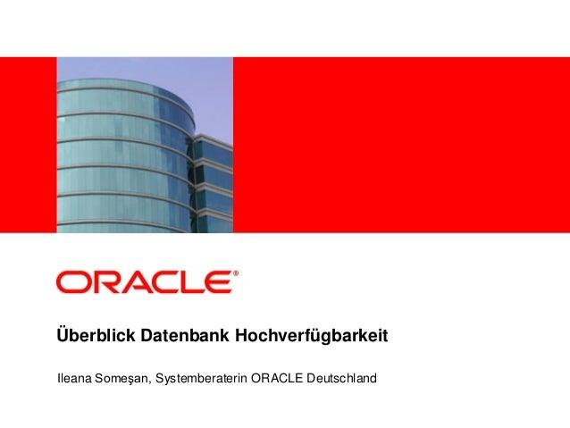 <Insert Picture Here>Überblick Datenbank HochverfügbarkeitIleana Someşan, Systemberaterin ORACLE Deutschland