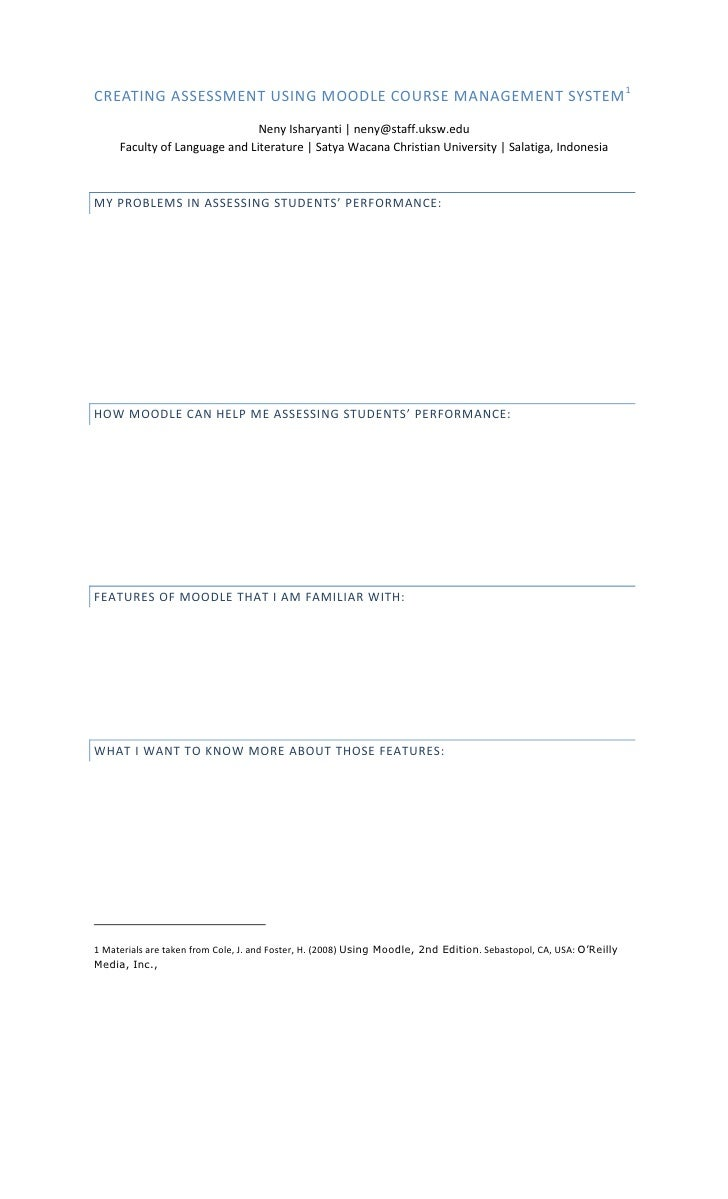 Handout for Creating Online Assessments Using Moodle CMS PowerPoint