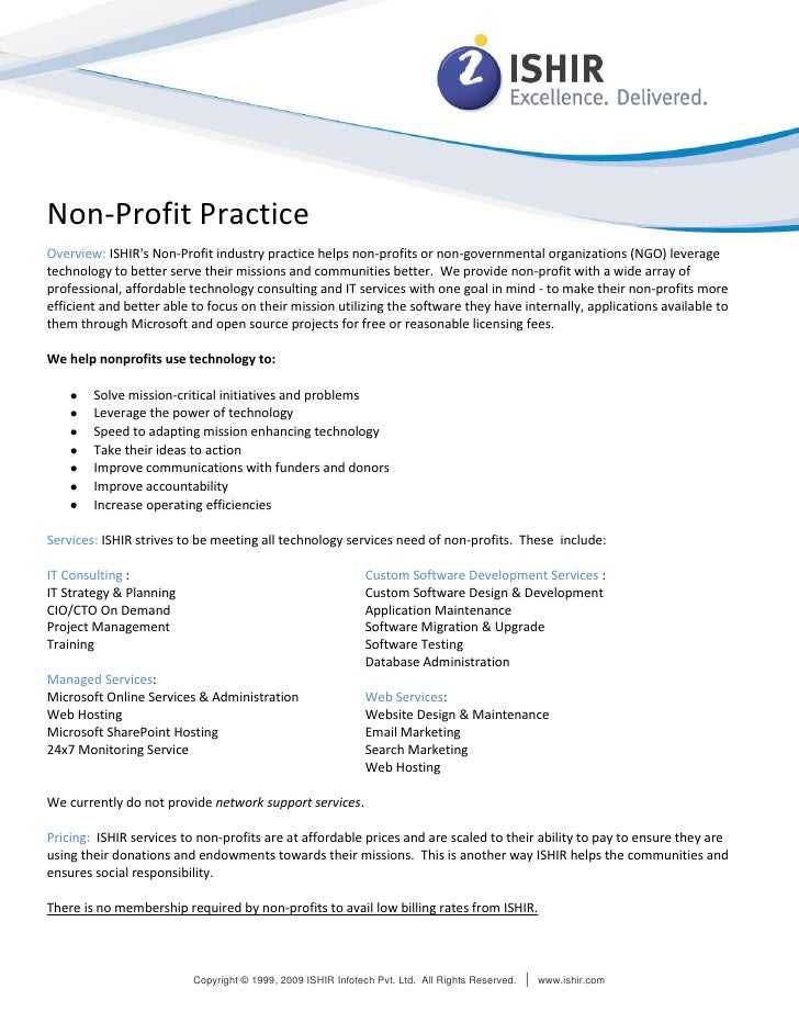Non-Profit Practice Overview: ISHIR's Non-Profit industry practice helps non-profits or non-governmental organizations (NG...