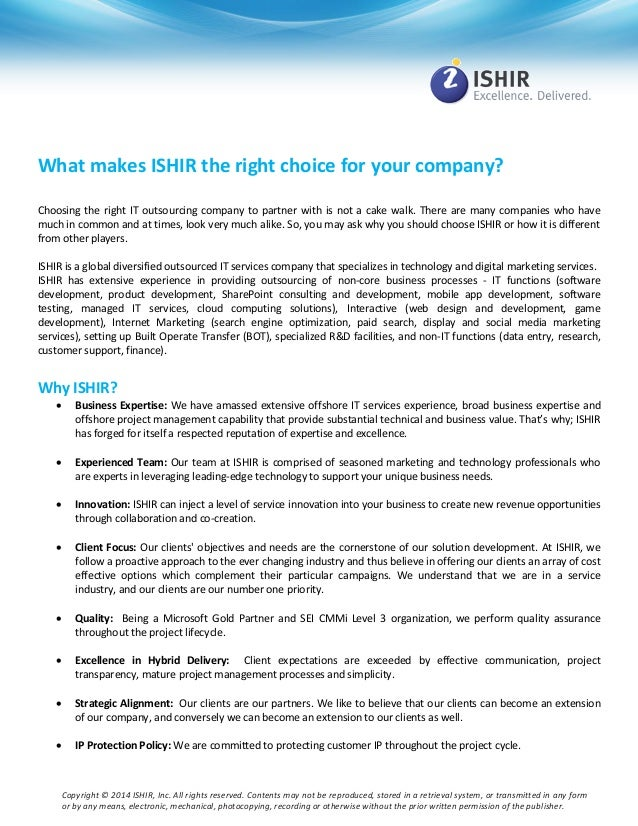 ISHIR: The right choice for your company?