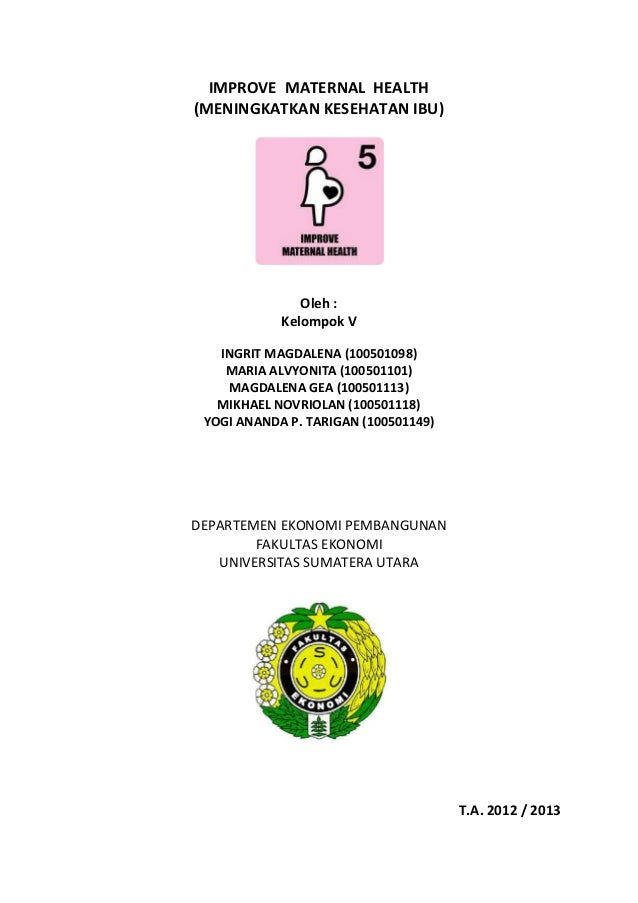 IMPROVE MATERNAL HEALTH (MENINGKATKAN KESEHATAN IBU) Oleh : Kelompok V INGRIT MAGDALENA (100501098) MARIA ALVYONITA (10050...