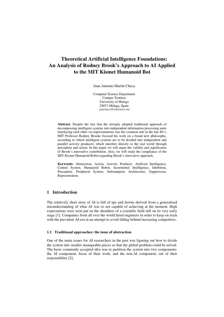 Theoretical AI Foundations: An Analysis of Rodney Brooke's Approach to AI Applied to the MIT Kismet Humanoid Bot