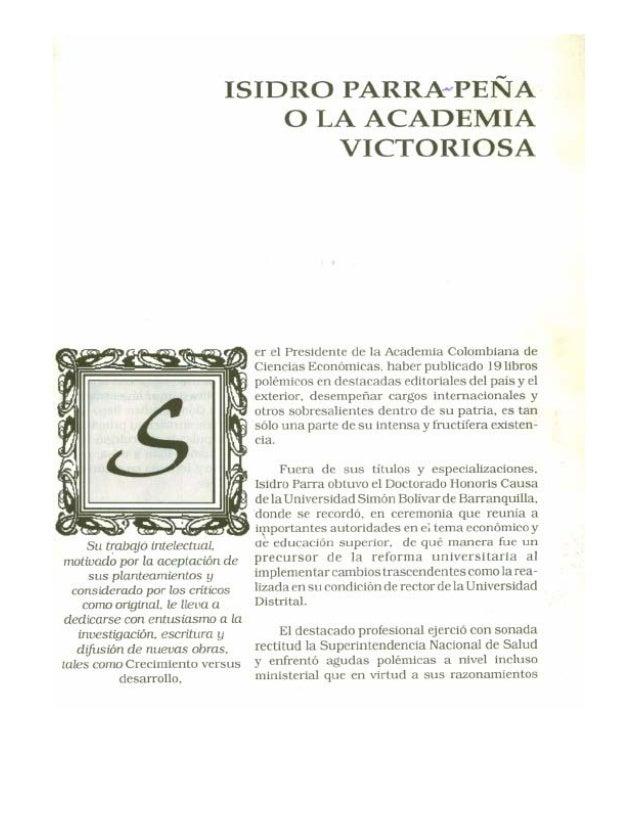 Isidro Parra-Peña o la Academia Victoriosa