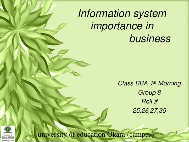 Information system importance in business  Class BBA 1st Morning Group 8 Roll # 25,26,27,35  university of education Okara...