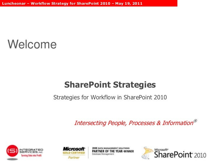 Welcome<br />SharePoint StrategiesStrategies for Workflow in SharePoint 2010<br />Intersecting People, Processes & Inform...