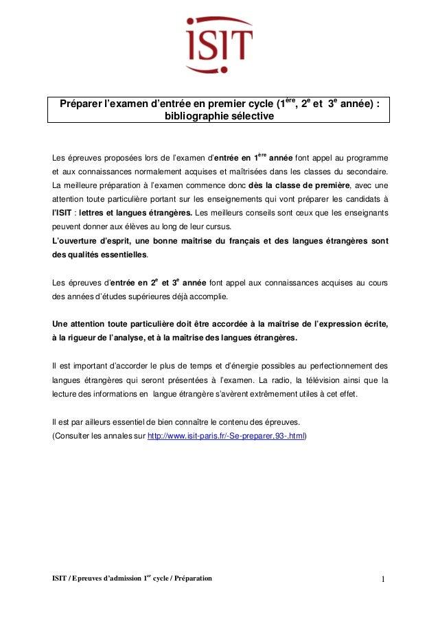 ISIT / Epreuves d'admission 1er cycle / Préparation 1  Préparer l'examen d'entrée en premier cycle (1ère, 2e et 3e année) ...