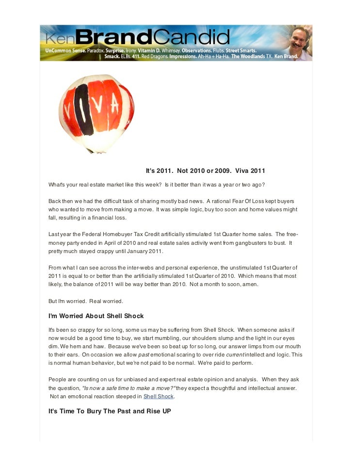 Tribe Realtor - A few thoughts on Shell Shock, Fear Of Loss and the 2011 Real Estate Market