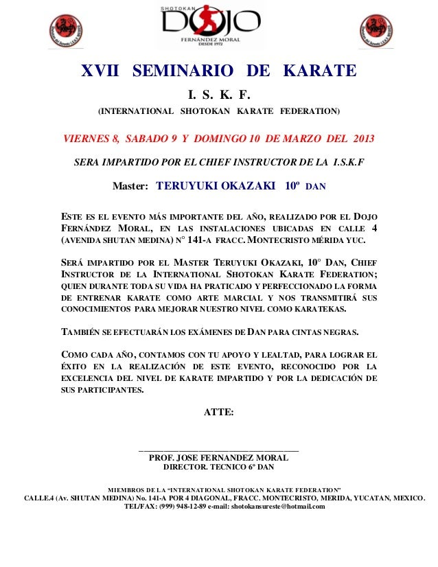 XVII SEMINARIO DE KARATE                                        I. S. K. F.                  (INTERNATIONAL SHOTOKAN KARAT...