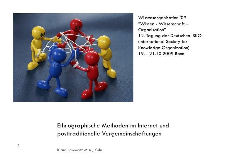 """Wissensorganisation '09                                 """"Wissen - Wissenschaft –                                 Organisat..."""