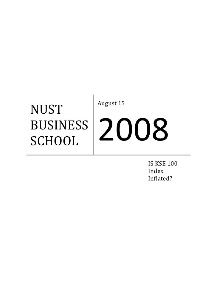 August 15  NUST  BUSINESS  SCHOOL      2008                           IS KSE 100                           Index          ...