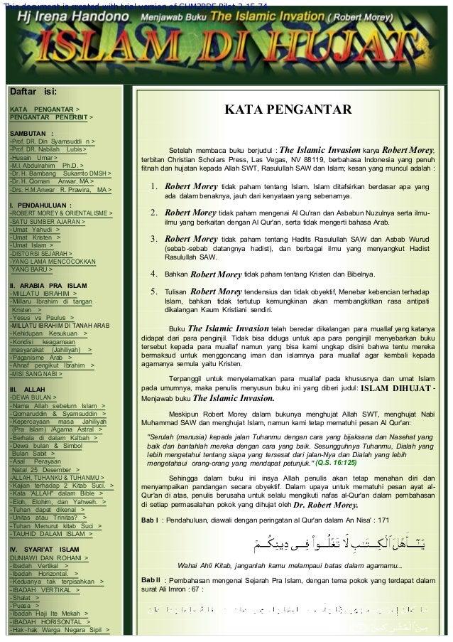 Daftar isi: KATA PENGANTAR > PENGANTAR PENERBIT >  SAMBUTAN : -Prof. DR. Din Syamsuddi n > -Prof. DR. Nabilah Lubis > -...