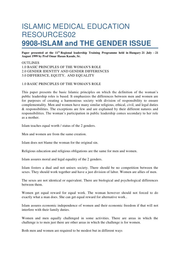 ISLAMIC MEDICAL EDUCATION RESOURCES029908-ISLAM and THE GENDER ISSUEPaper presented at the 11th Regional leadership Traini...