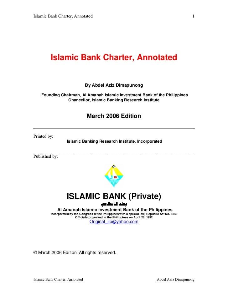 Islamic Bank Charter, Annotated                                                                        1          Islamic ...