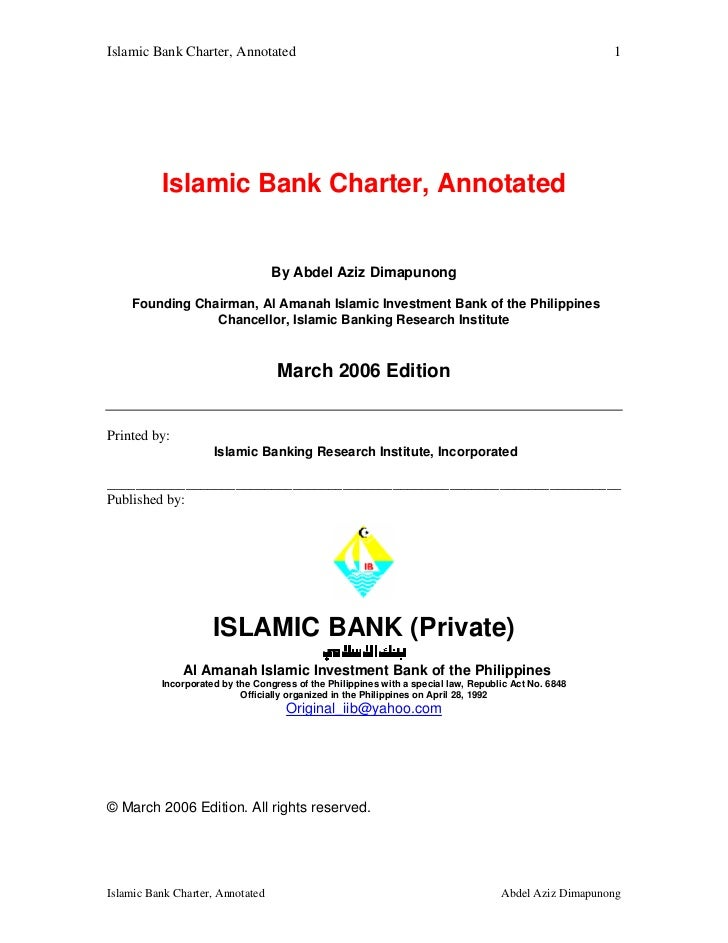 Islamic bank charter  annotated