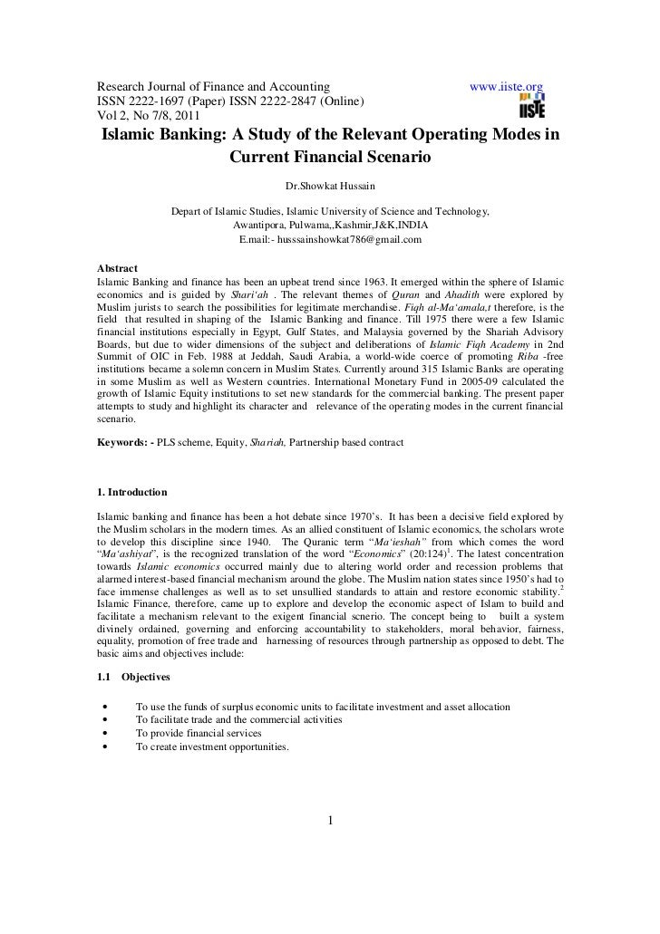 Islamic banking a study of the relevant operating modes in current financial scenario