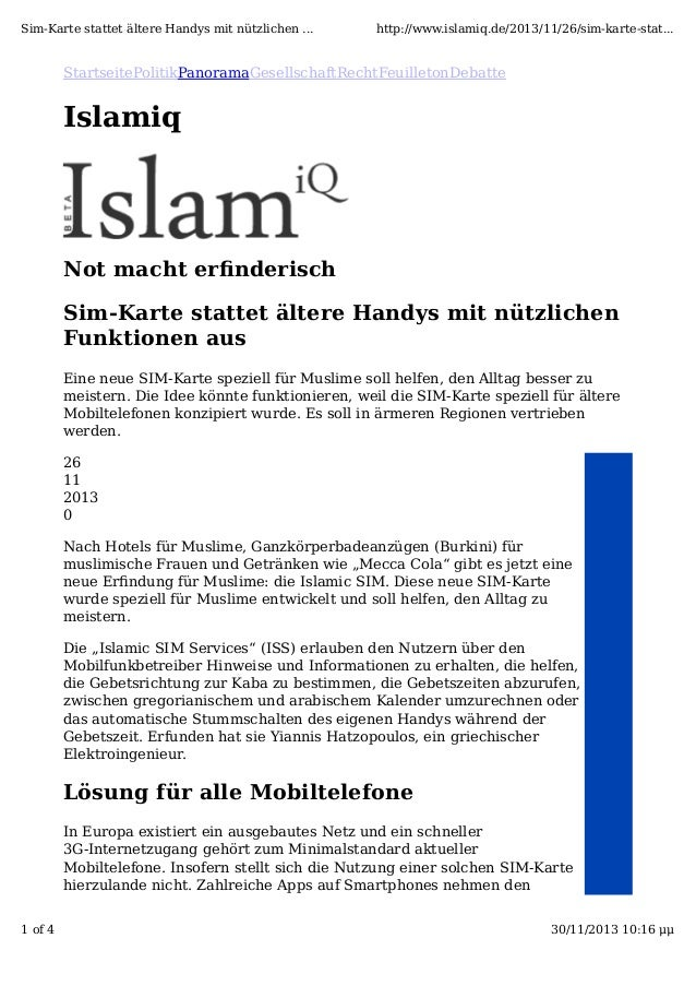 Sim-Karte stattet ältere Handys mit nützlichen ...  http://www.islamiq.de/2013/11/26/sim-karte-stat...  Panorama  Islamiq ...