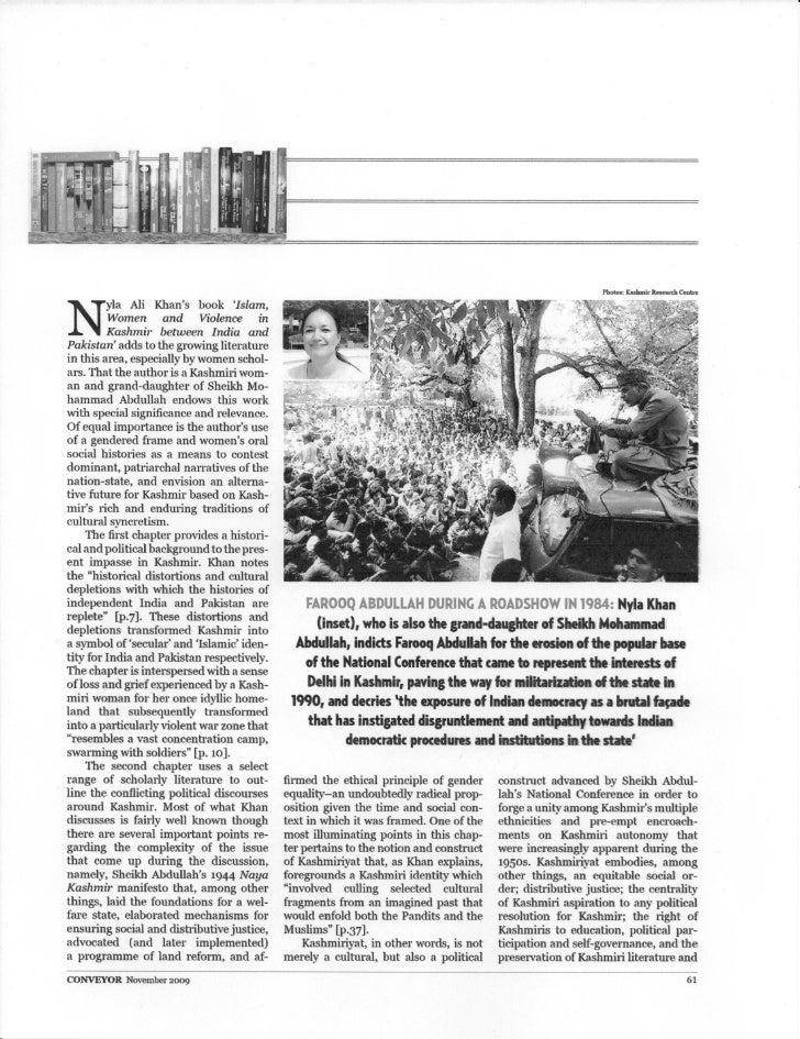 Photos: Kashmir Reeuch Centre     N         yla Ali Khan' s book 'Islam,         W omen and Violence in         K ashmir b...