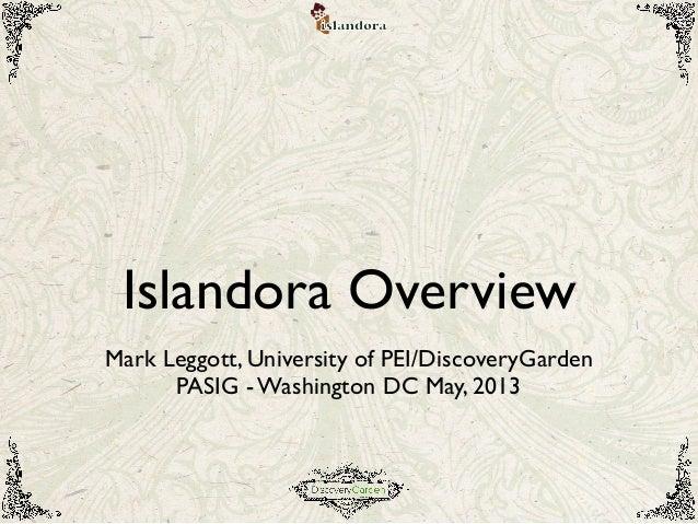 Islandora Overview: PASIG May 2013