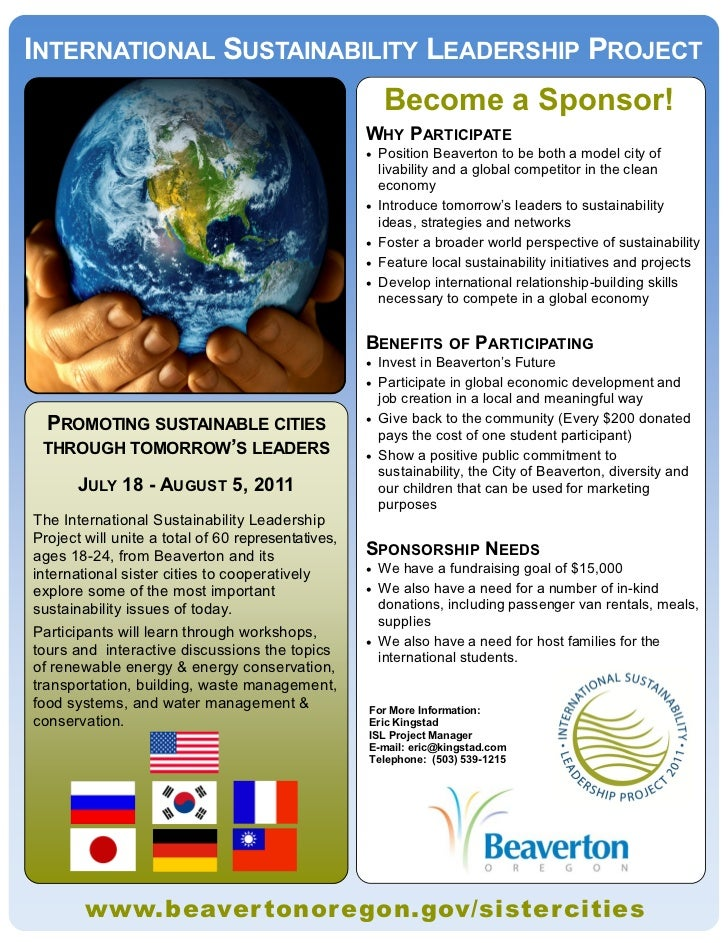 INTERNATIONAL SUSTAINABILITY LEADERSHIP PROJECT                                                        Become a Sponsor!  ...