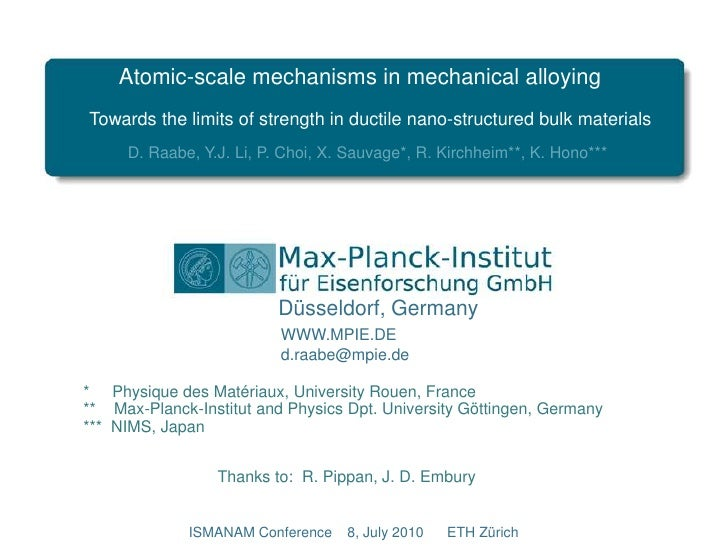 Atomic-scale mechanisms in mechanical alloying<br />Towards the limits of strength in ductile nano-structured bulk materia...