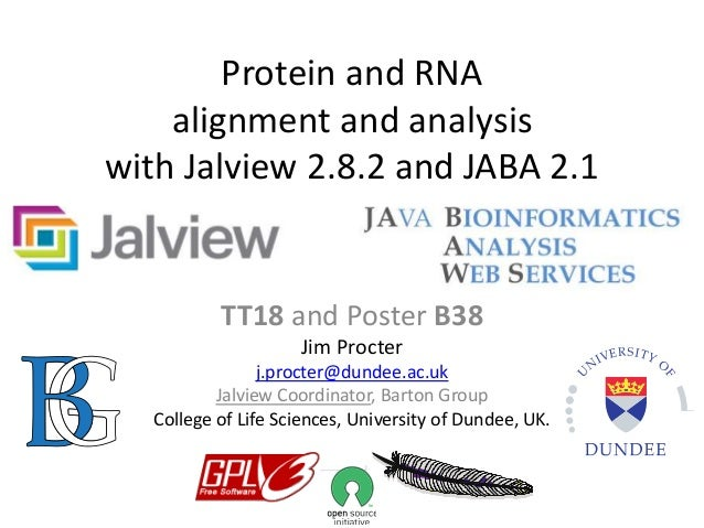 Protein and RNA alignment and analysis with Jalview 2.8.2 and JABA 2.1 TT18 and Poster B38 Jim Procter j.procter@dundee.ac...