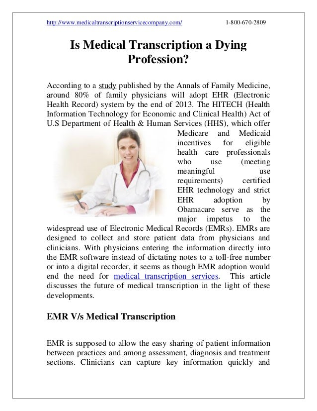 Is Medical Transcription a Dying Profession?