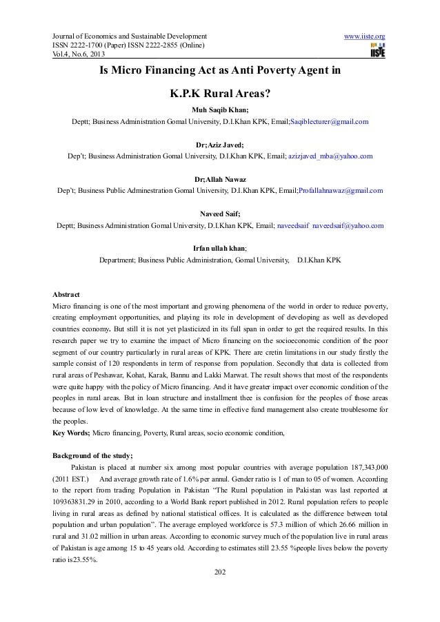 Journal of Economics and Sustainable DevelopmentISSN 2222-1700 (Paper) ISSN 2222Vol.4, No.6, 2013Is Micro Financing ActDep...