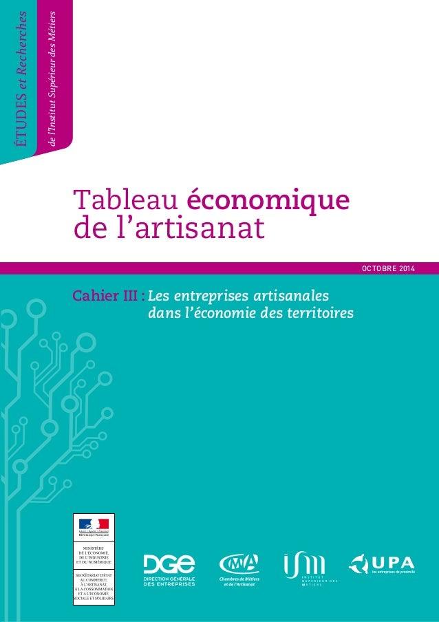 Tableau économique  de l'artisanat  Tableau économique de l'artisanat 1  ÉTUDES et Recherches  de l'Institut Supérieur des...