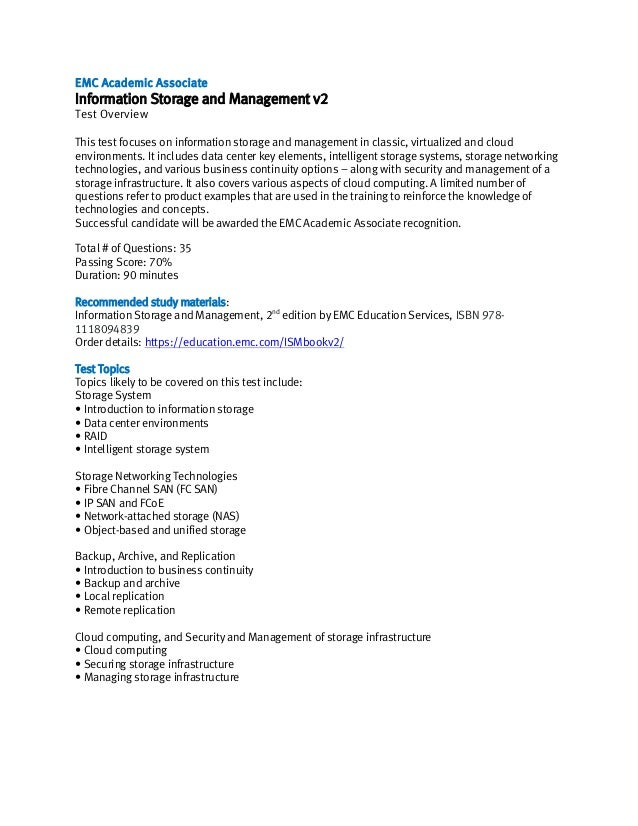 EMC Academic Associate exam description, Information Storage and Management