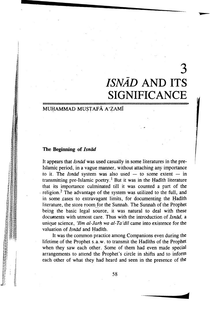 Signifigance of Isnaad in Islam
