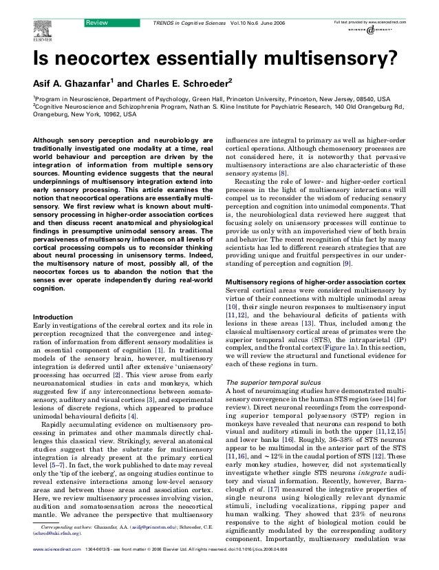 Is neocortex essentially multisensory? Asif A. Ghazanfar1 and Charles E. Schroeder2 1 Program in Neuroscience, Department ...