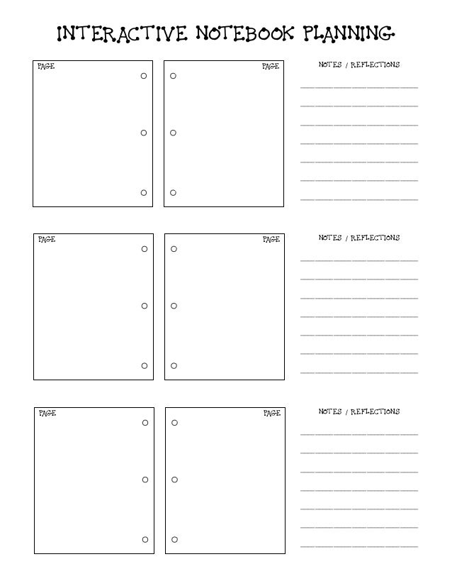 INTERACTIVE NOTEBOOK PLANNING PAGE PAGE PAGE PAGE PAGE PAGE NOTES / REFLECTIONS ________________________________ _________...
