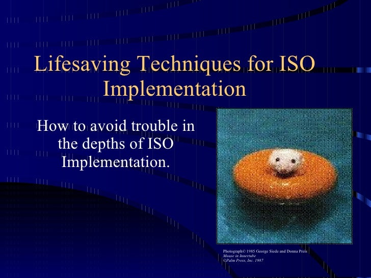 Lifesaving Techniques for ISO Implementation How to avoid trouble in the depths of ISO Implementation. Photograph© 1985 Ge...