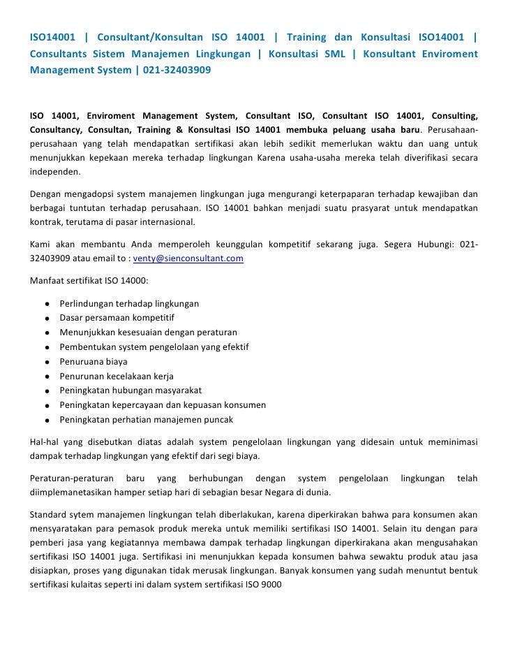 ISO14001   Consultant/Konsultan ISO 14001   Training dan Konsultasi ISO14001   Consultants Sistem Manajemen Lingkungan   K...