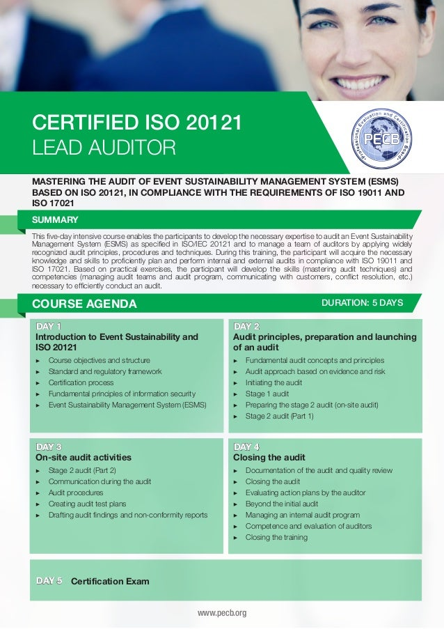 CERTIFIED ISO 20121 LEAD AUDITOR MASTERING THE AUDIT OF EVENT SUSTAINABILITY MANAGEMENT SYSTEM (ESMS) BASED ON ISO 20121, ...