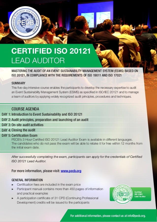 CERTIFIED ISO 20121 LEAD AUDITOR MASTERING THE AUDIT OF AN EVENT SUSTAINABILITY MANAGEMENT SYSTEM (ESMS) BASED ON ISO 2012...