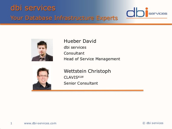IT Service Management & ISO 20000 - David Hueber, dbi services - Hillton Basel 05/2011