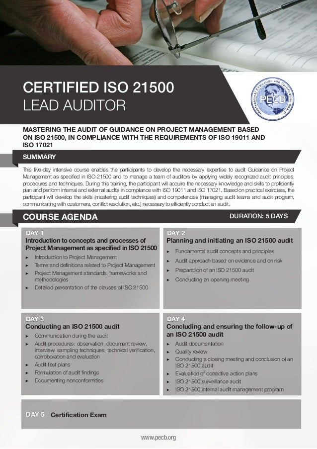 CERTIFIED ISO 21500 LEAD AUDITOR MASTERING THE AUDIT OF GUIDANCE ON PROJECT MANAGEMENT BASED ON ISO 21500, IN COMPLIANCE W...