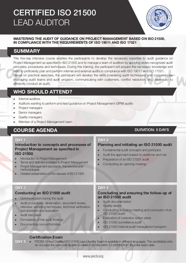 ISO 21500 Lead Auditor - Two Page Brochure