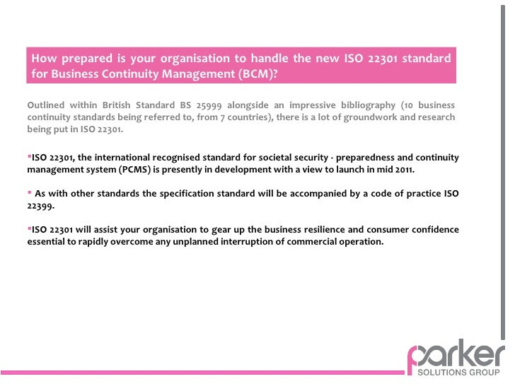 Business continuity plan iso 22301