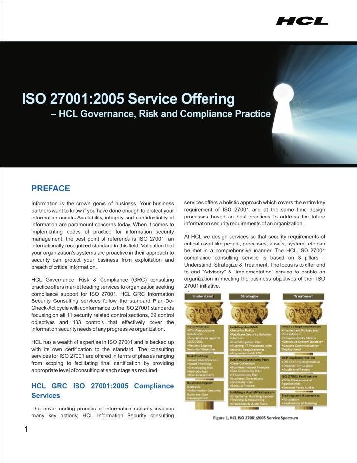 HCLT Brochure: ISO 270012005 Service Offering - HCL Governance, Risk & Compliance Practice