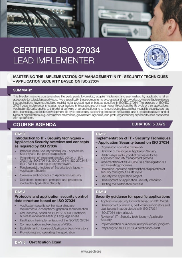 CERTIFIED ISO 27034 LEAD IMPLEMENTER MASTERING THE IMPLEMENTATION OF MANAGEMENT IN IT - SECURITY TECHNIQUES – APPLICATION ...