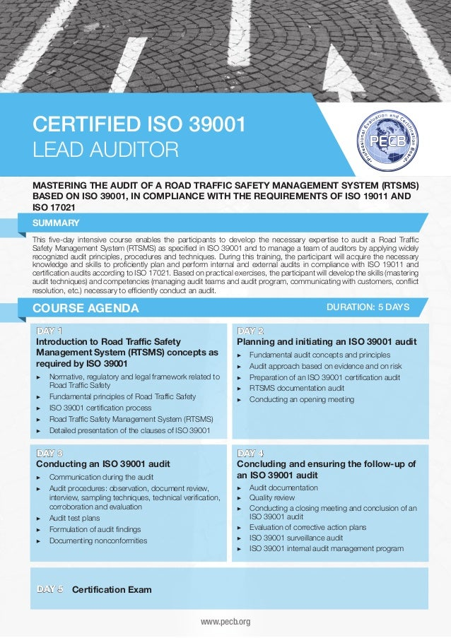 CERTIFIED ISO 39001 LEAD AUDITOR MASTERING THE AUDIT OF A ROAD TRAFFIC SAFETY MANAGEMENT SYSTEM (RTSMS) BASED ON ISO 39001...