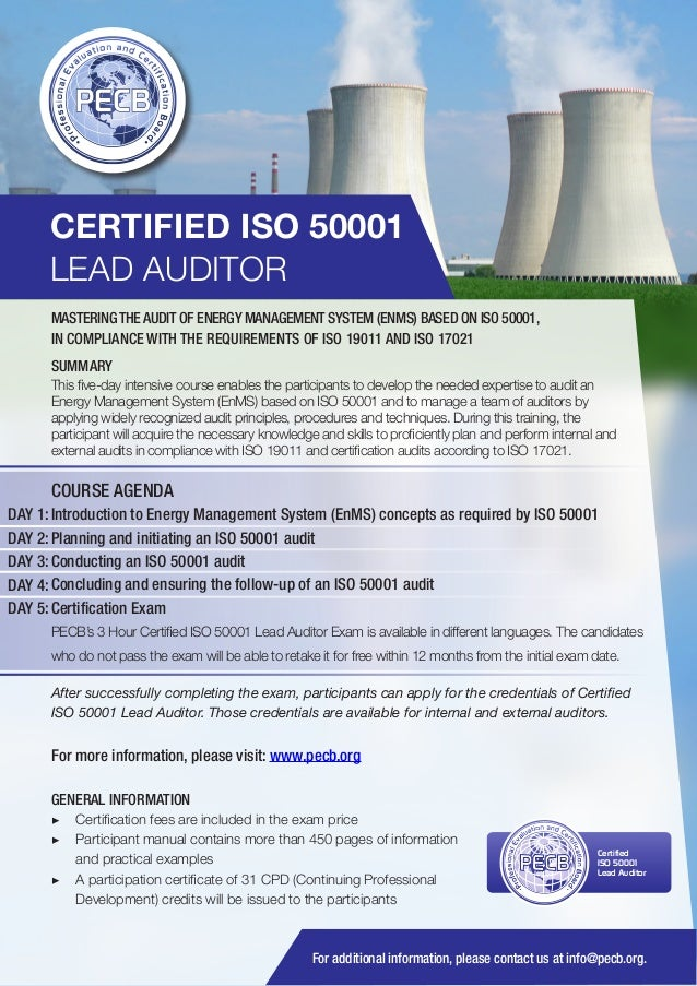 CERTIFIED ISO 50001 LEAD AUDITOR MASTERING THE AUDIT OF ENERGY MANAGEMENT SYSTEM (ENMS) BASED ON ISO 50001, IN COMPLIANCE ...