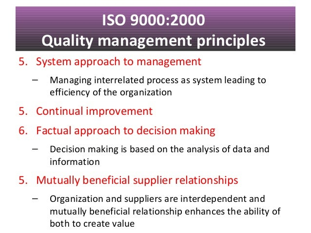 iso 9000 quality management standards essay Free term paper on total quality management available  devotion to established standards, such as the international organization for standardization's iso 9000.