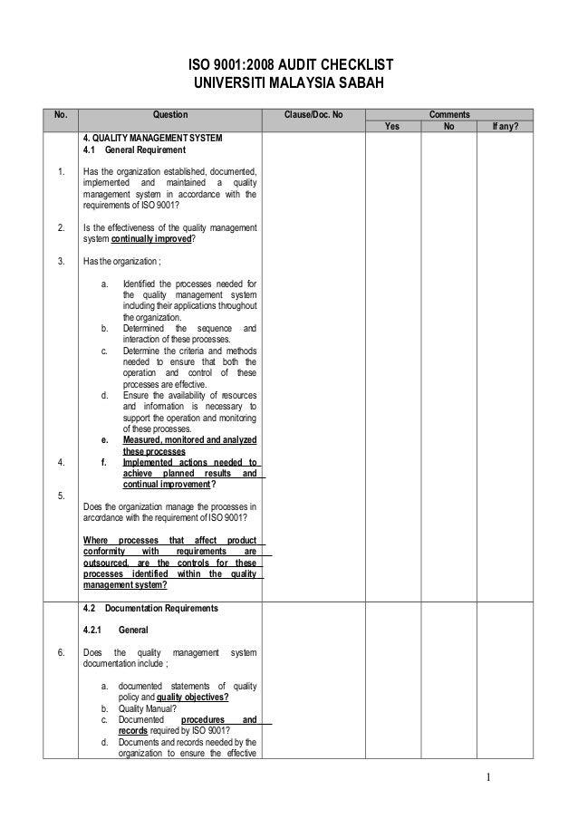 ISO 9001:2008 AUDIT CHECKLIST                                       UNIVERSITI MALAYSIA SABAHNo.                        Qu...