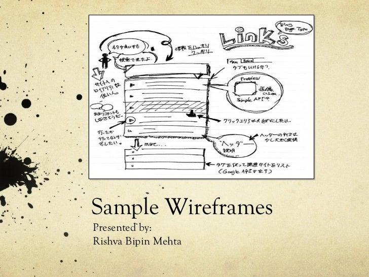 Sample Wireframes Presented by: Rishva Bipin Mehta