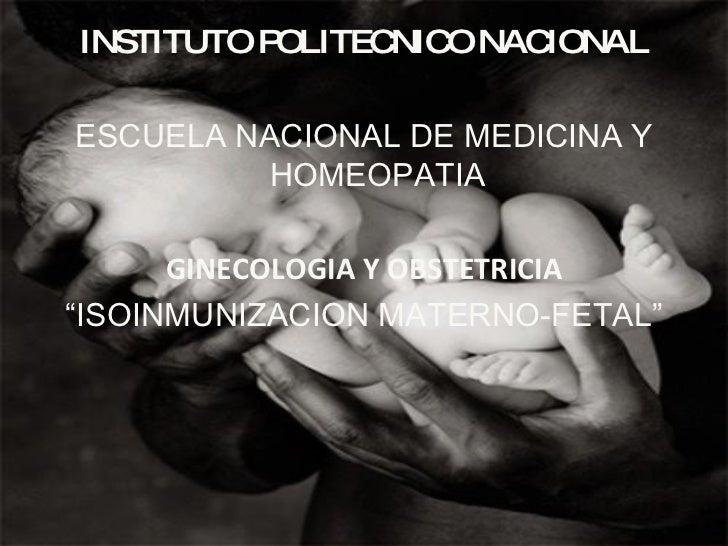 Isoinmunizacion Maternofetal Ginecologia