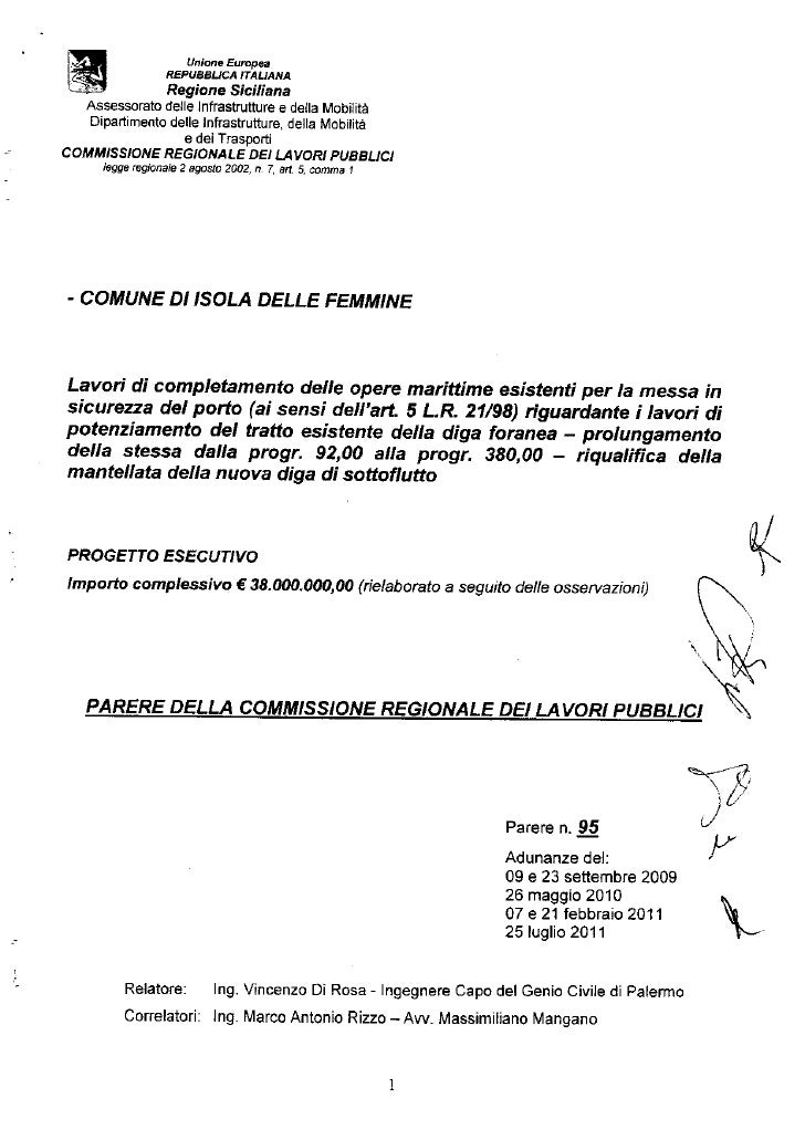 Isola delle femmine decreto regionale finanziamento potenziamento diga foranea porto di isola delle femmine art 5   legge .regionale 21 anno 98